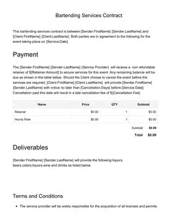 Bartending Services Contract Template