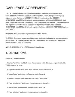 Car Rental Agreement Templates 5 Free Contracts Edit And Download