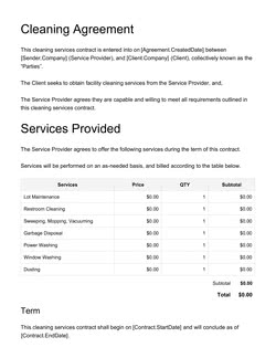 Cleaning Service Contract Template