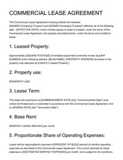 Commercial Lease Agreement Template Get Free Sample