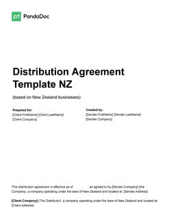 Distribution Agreement Template NZ