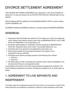 Divorce Settlement Agreement Template - Get Free Sample
