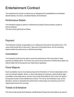 Entertainment Contract Template