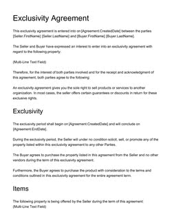 Exclusivity Agreement Template