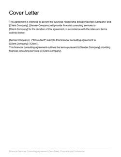 Financial Consulting Agreement Template