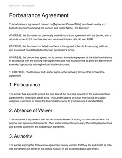 Forbearance Agreement Template