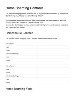Horse Boarding Contract Template