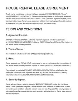 House Rental Lease Agreement Template Get Free Sample