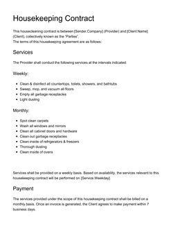 Housekeeping Contract Template