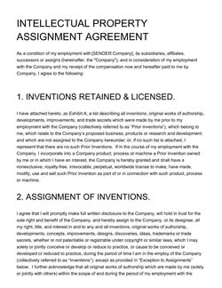 Intellectual Property Assignment Agreement Template