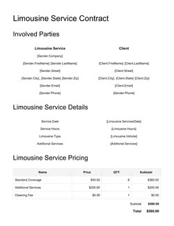 Limousine Service Contract Template