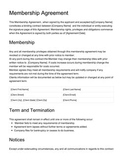 Membership Agreement Template