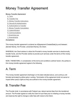 Money Transfer Agreement Template