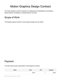 Motion Graphics Design Contract Template