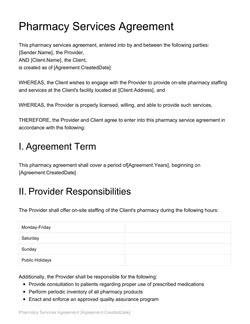 Pharmacy Services Agreement Template