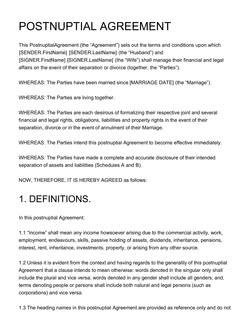 Postnuptial Agreement Template