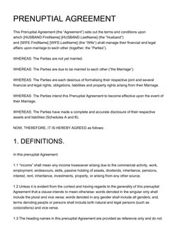Prenuptial Agreement Template Get Free Sample