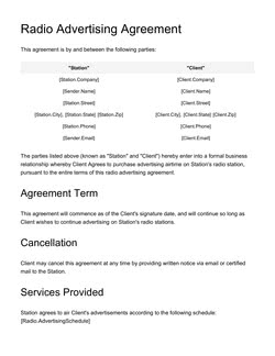 Radio Advertising Agreement Template