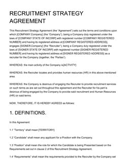 Recruitment Strategy Agreement Template