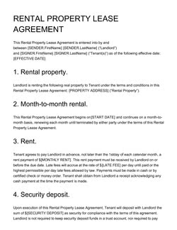 Rental Property Lease Agreement Template Get Free Sample