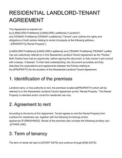 Residential Landlord Tenant Agreement Template Get Free Sample