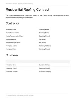 Residential Roofing Contract Template