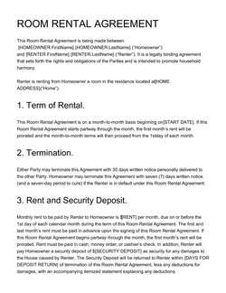 Room Rental Agreement Template Get Free Sample
