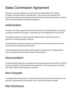 Sales Commission Agreement Template