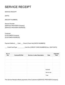 Service Receipt Template Get Free Sample
