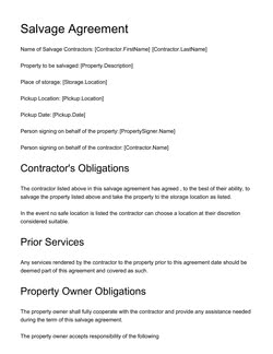 Salvage Agreement Template