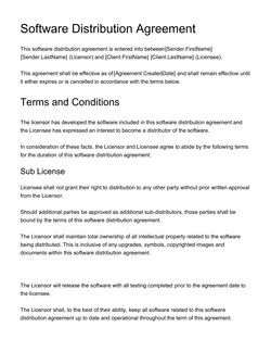 Software Distribution Agreement Template Get Free Sample