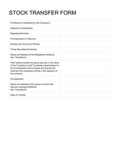 Stock Transfer Form Template