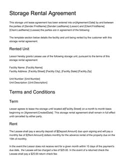 Storage Rental Agreement Template Get Free Sample