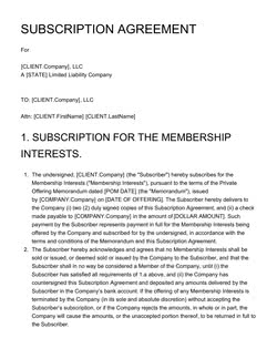 Subscription Agreement Template