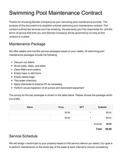 Swimming Pool Maintenance Contract Template