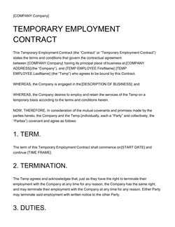 Temporary Employment Contract Template - Get Free Sample