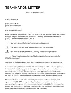 Termination Letter Template