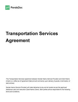 Transportation Services Agreement Template