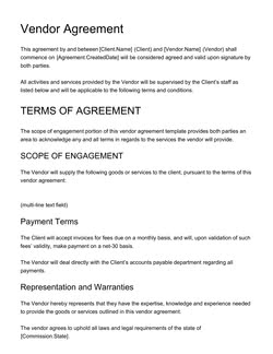 Vendor Agreement Template