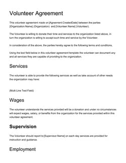Volunteer Agreement Template