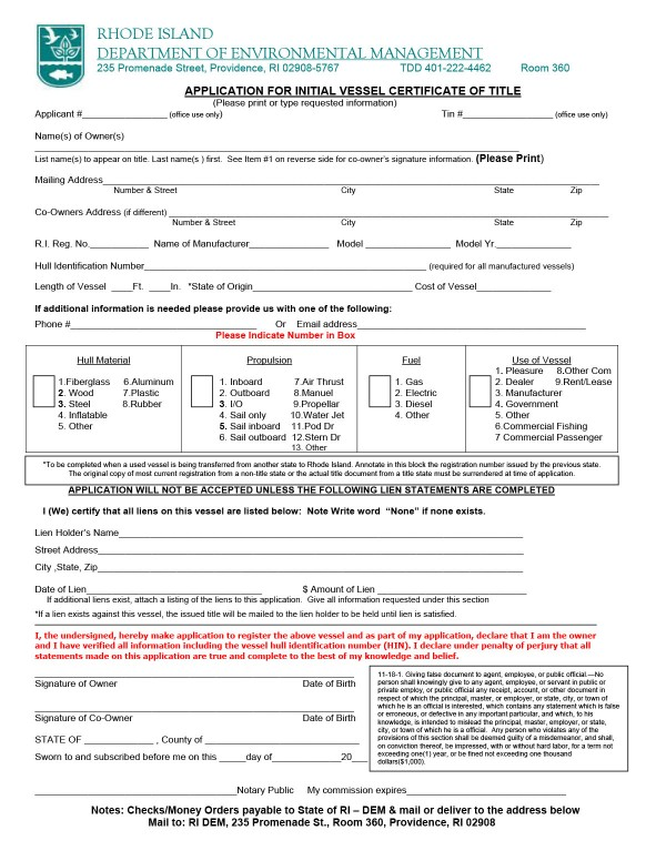 Application for initial vessel certificate of title Rhode Island PandaDoc