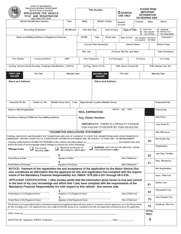 Application for New Mexico title (MVD 10002) New Mexico PandaDoc