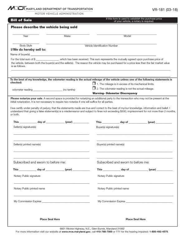 Bill of sale for vehicle transactions (Form VR-181) Maryland PandaDoc