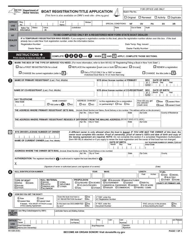 Boat registration application (MV-82B) New York PandaDoc