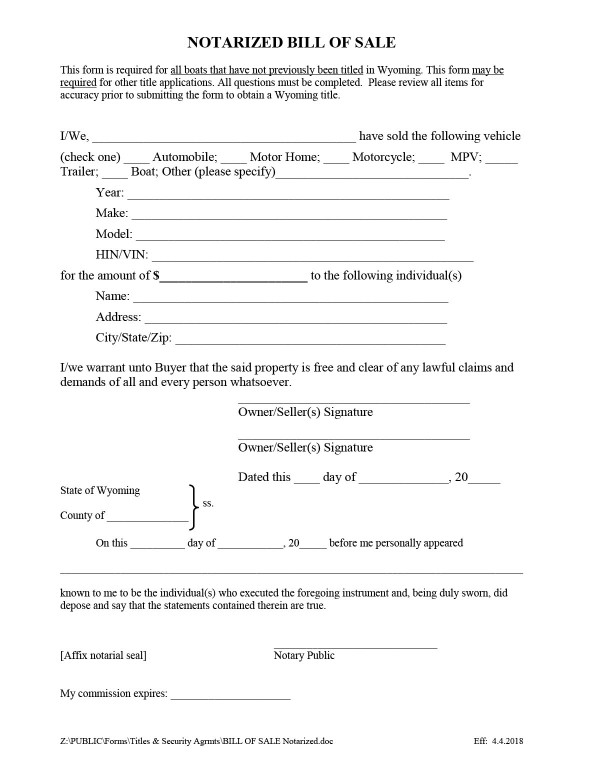 Converse County boat bill of sale form Wyoming PandaDoc