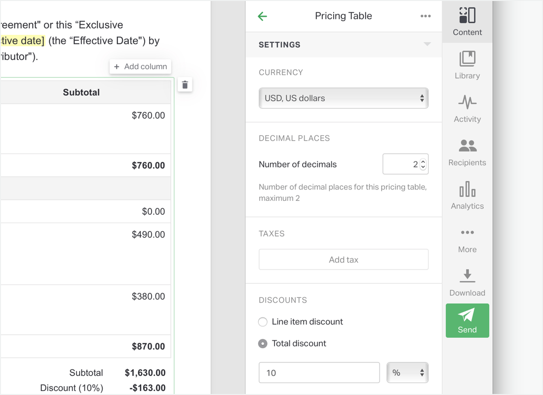 Product catalogs and pricing tables