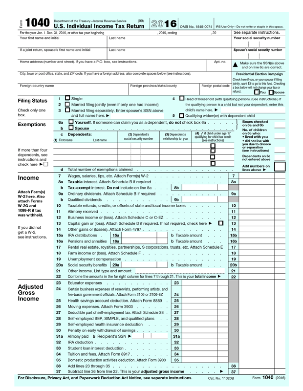 IRS 1040 Form Template - Create and Fill Online