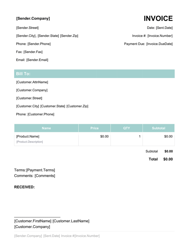 photo invoice template  Free Invoice Template - Create and Fill Online