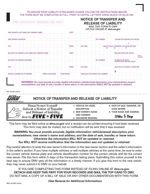 Notice of transfer and release of liability (NRL) California PandaDoc