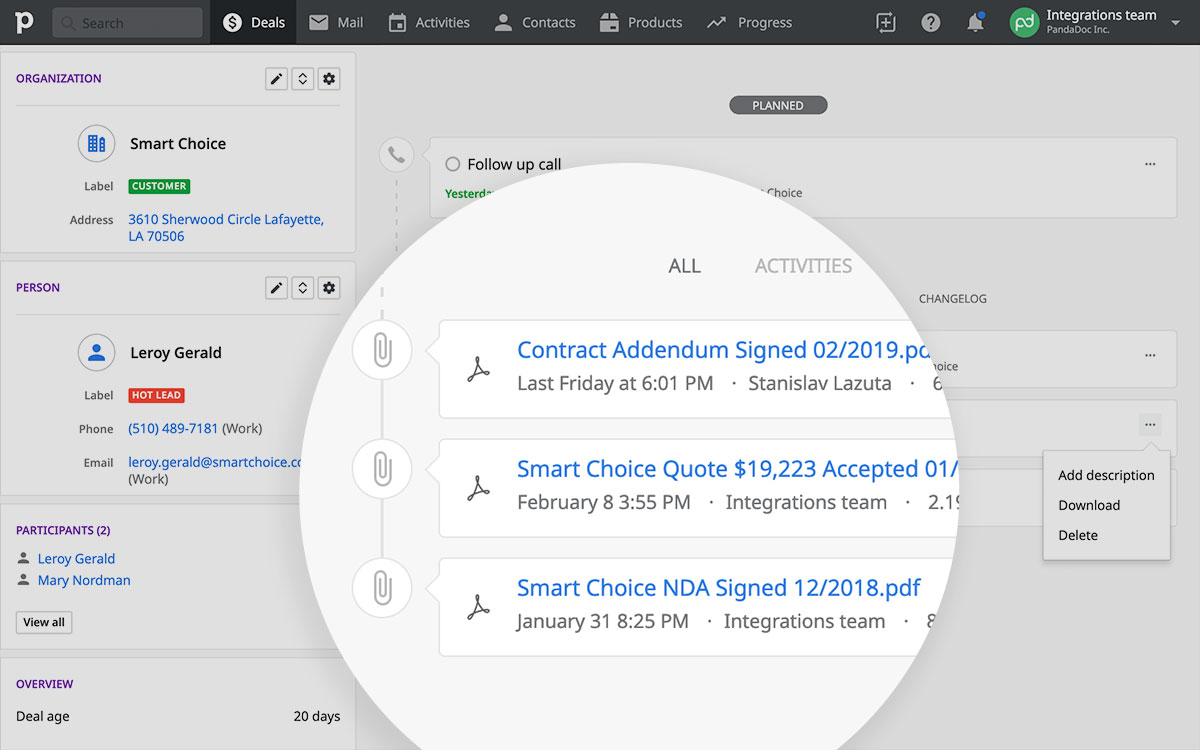 PandaDoc Pipedrive integration: attach files to deals